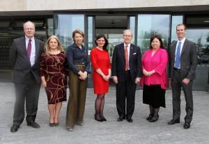 L-R: Professor Paul O' Connor, Siobhán Byrne Learat, Áine Lawlor, Niamh Gallagher, Ambassador Kevin O' Malley, Mary Harney, Cross Country
